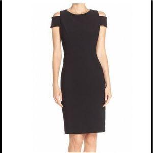 Vince Camuto Black Cold-Shoulder Dress